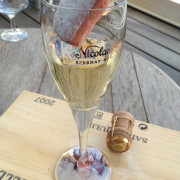 Biscuit de Reims dipped in champagne.
